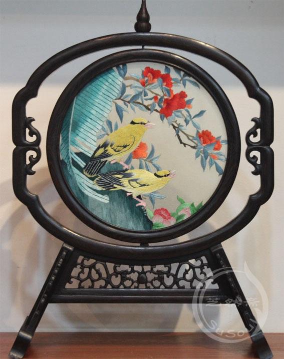 芭蕉黄鹂 小型双面绣-鸡翅葫芦架