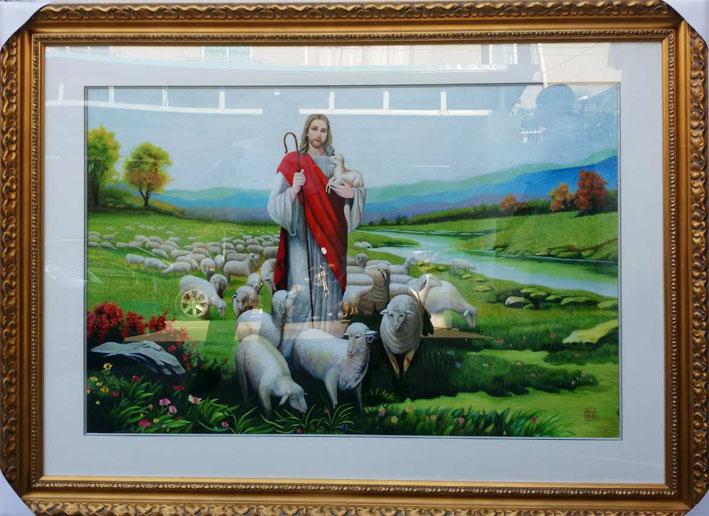 定做苏绣-耶稣牧羊图