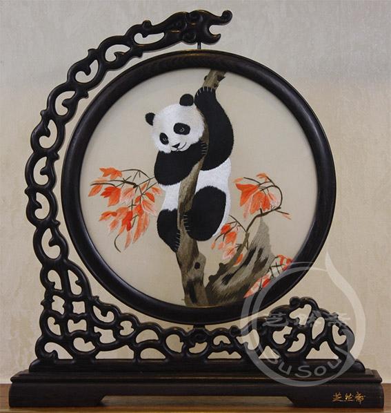 熊猫望秋 鸡翅木龙架双面绣动物