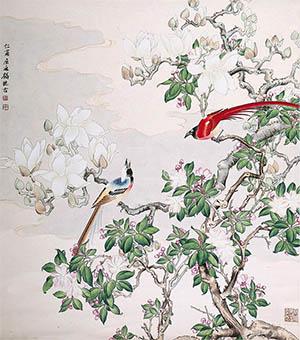 屈兆麟 《玉堂双寿图》