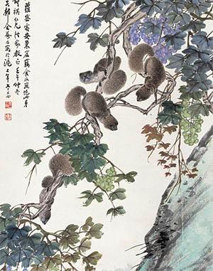 吴琴木 《松鼠葡萄》