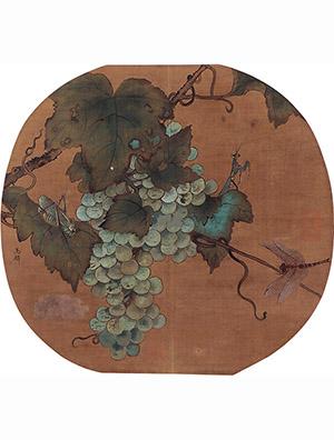 马麟 《葡萄草虫图》