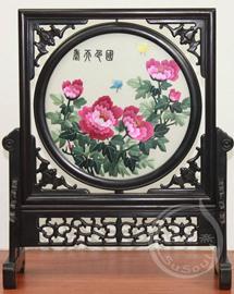 中国特色礼品 牡丹双面绣