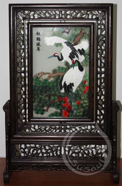 松鹤 小型双面绣-鸡翅木方架