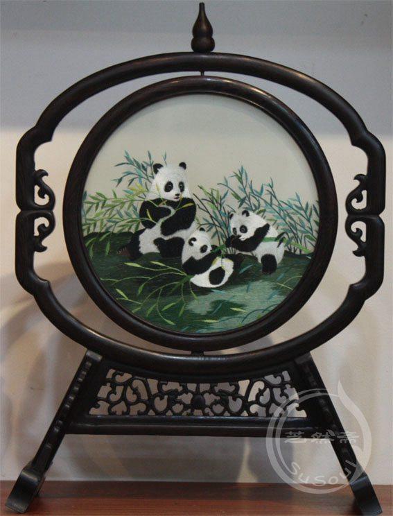 熊猫 双面绣礼品-鸡翅葫芦架