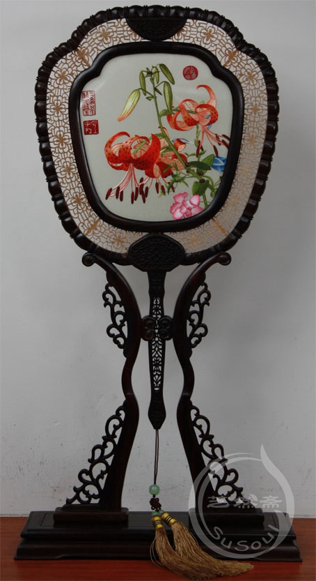 百合 小型双面绣-紫檀宫扇
