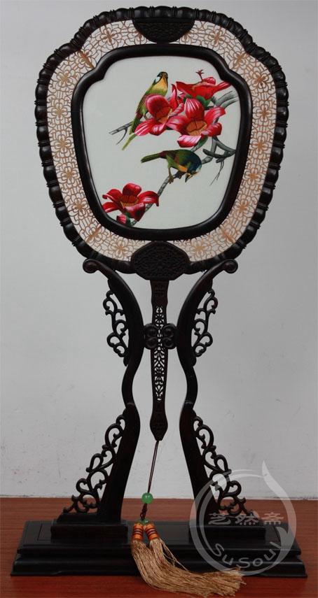 木棉喜鹊 小型双面绣-紫檀宫扇