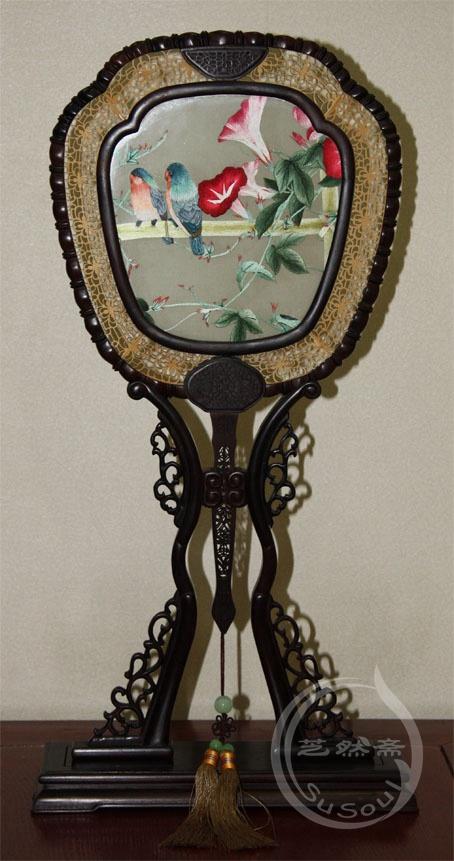 牵牛鹦鹉 小型双面绣-紫檀宫扇