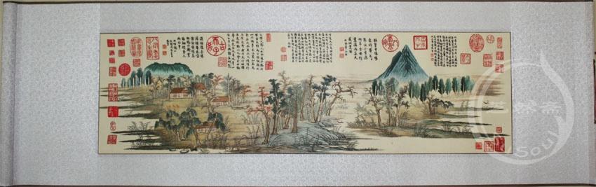 鹊华秋色 刺绣卷轴