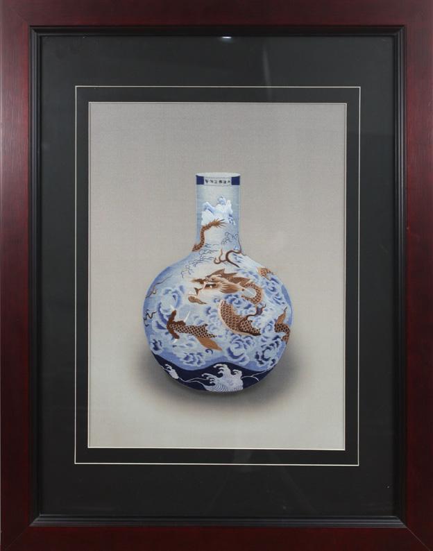 云龙瓶  苏绣艺术品