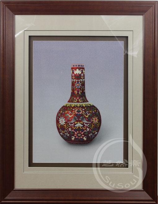 福寿瓶  苏绣艺术品
