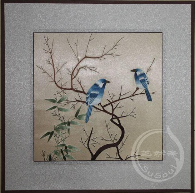 和鸣 软裱刺绣画-宋人花鸟