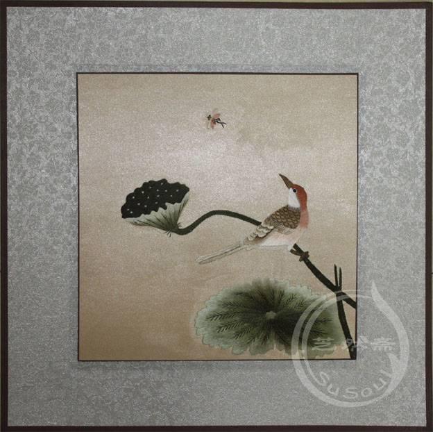 将出 软裱刺绣画-宋人花鸟