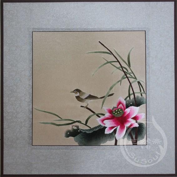 色空 软裱刺绣画-宋人花鸟