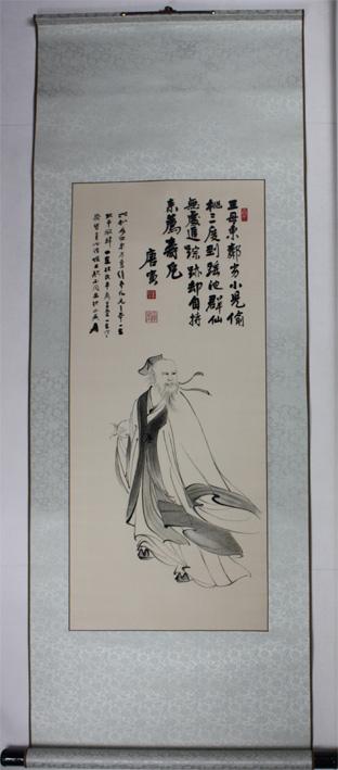 唐寅寿星  刺绣画轴