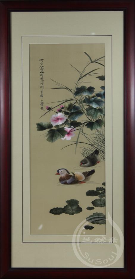 颜伯龙鸳鸯之三 单面绣-其他花鸟