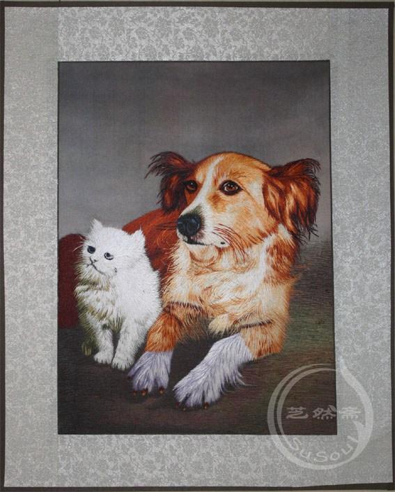 小狗 单面绣-动物软裱