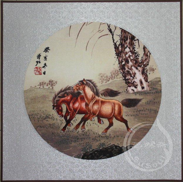 郎世宁马 软裱绣品-动物