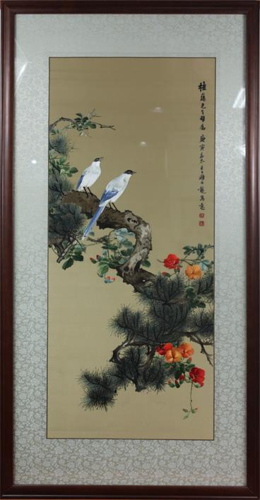 颜伯龙花鸟喜鹊 单面绣-其他花鸟