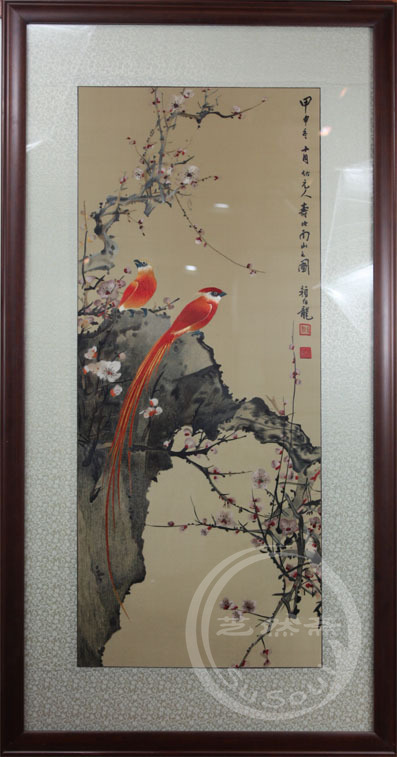 颜伯龙花鸟绶带 单面绣-其他花鸟