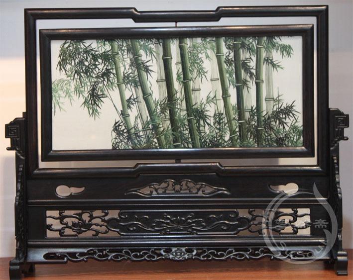 竹林清风 小型双面绣-紫光檀方架