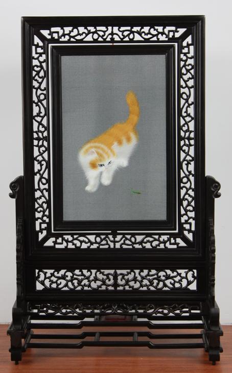 异色波斯猫 小型双面绣-紫光檀方架