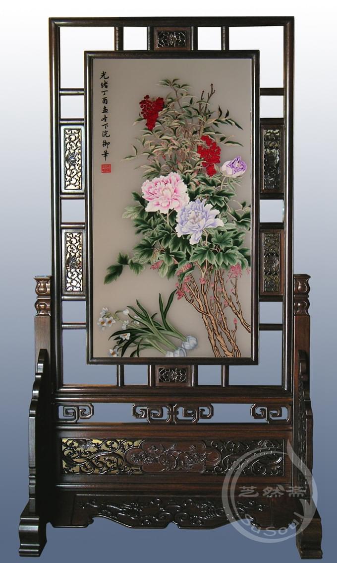 牡丹兰花 大型苏绣屏风
