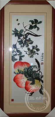 寿桃 单面绣-其他花鸟