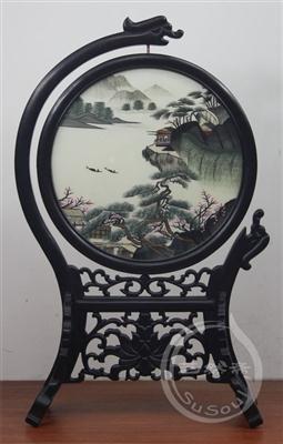辽阔江山 双面绣精品-紫光檀双龙戏珠架