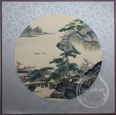 江山辽阔 苏绣软裱-风景