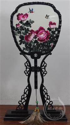 牡丹 小型双面绣-紫光檀宫扇