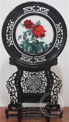并蒂牡丹 小型双面绣-中国特色礼品