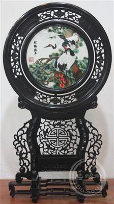 松鹤延年 小型双面绣-中国特色礼品