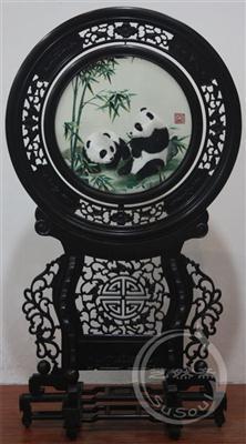 熊猫翠竹 小型双面绣-中国特色礼品