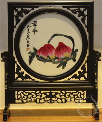白石寿桃 小型双面绣-紫光檀蝠架