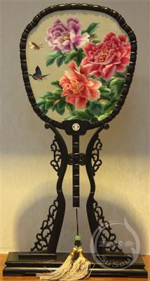 牡丹 中国风礼品-紫光檀宫扇