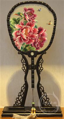 真国色 中国风礼品-紫光檀宫扇