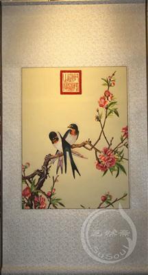 花鸟刺绣画卷 外国人礼物