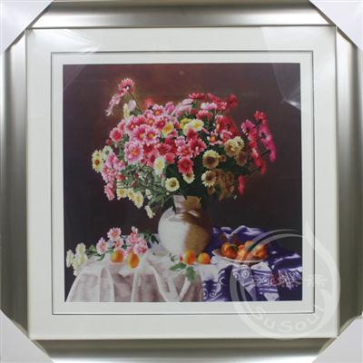 静物 金盏菊和水果