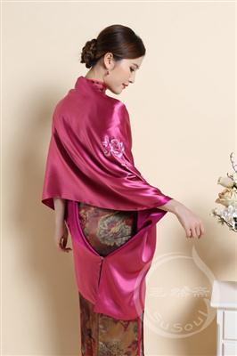 苏绣牡丹真丝披肩