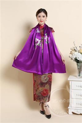 刺绣牡丹大围巾