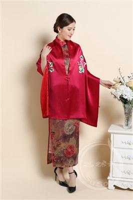 苏绣牡丹大围巾