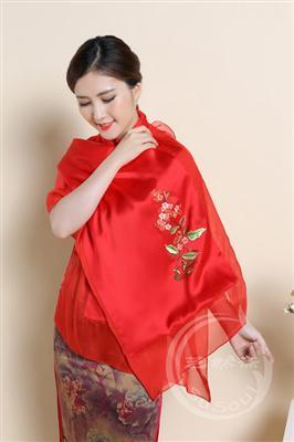 青春刺绣围巾 桃花
