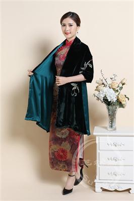 刺绣丝绒围巾