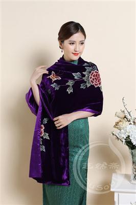 苏绣丝绒围巾
