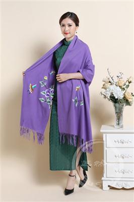 苏绣羊绒大围巾