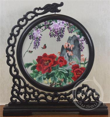 牡丹紫藤 苏绣摆件