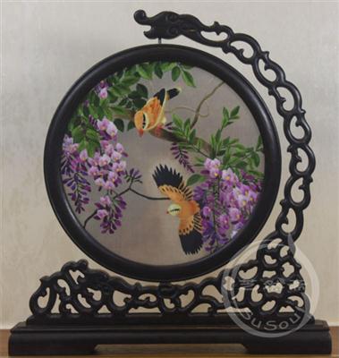 紫藤黄鹂 花鸟双面绣