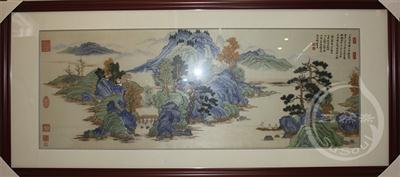 幽居图卷 苏绣山水画
