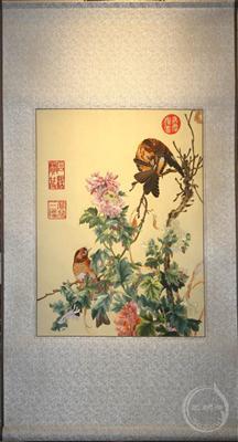 花鸟刺绣卷轴 中国风礼物